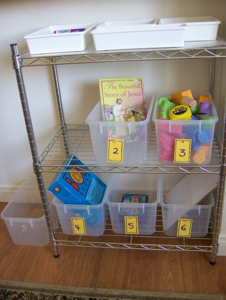 Workboxes set-up for Kinder/1st Workboxes
